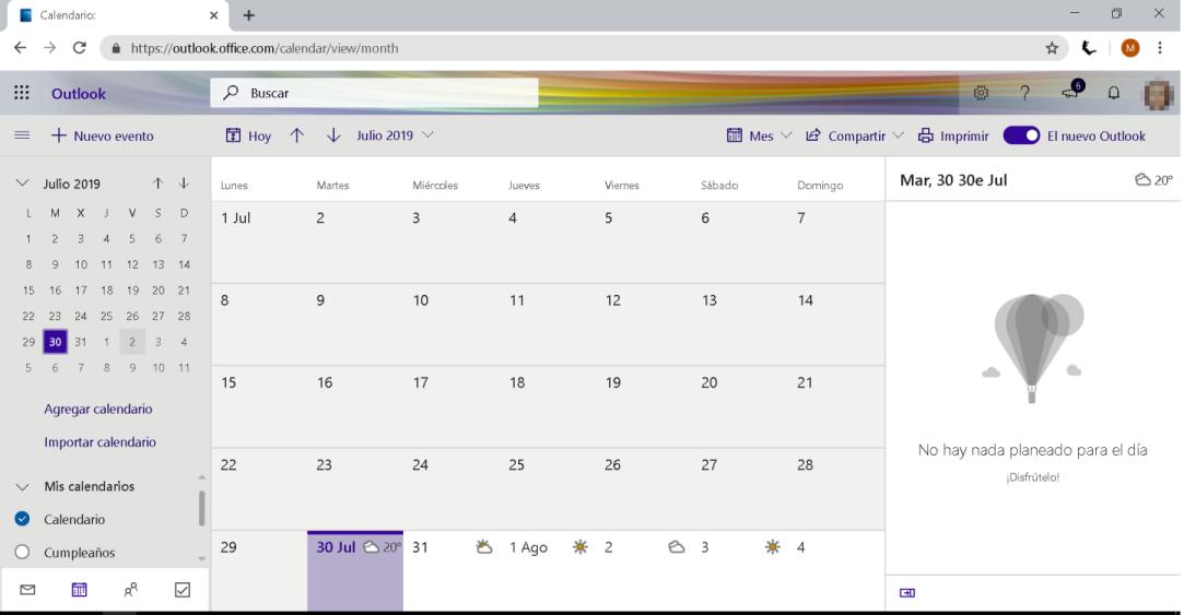 Compartir el calendario de Outlook