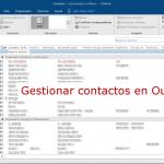 La FICHA INICIO / CONTACTOS de Outlook