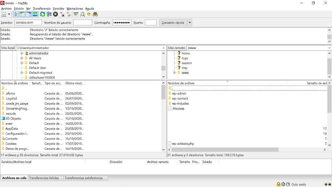 Cliente FTP Filezilla