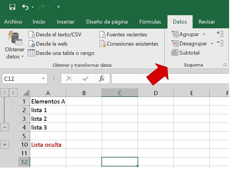 Agrupar datos en Excel