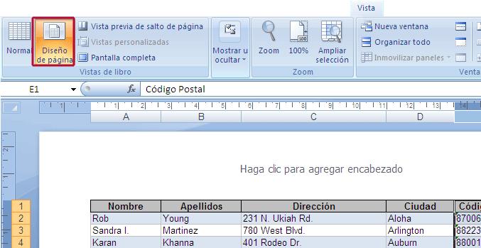 Diseño de página de Excel