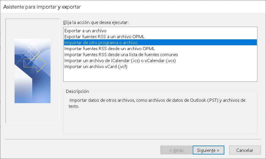 Funciones de Exportación / Importación en Ms Outlook