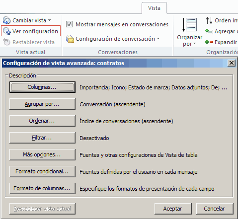 configurar vista en Outlook