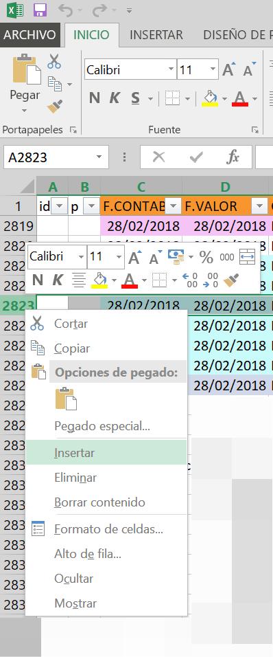 Insertar filas en Excel
