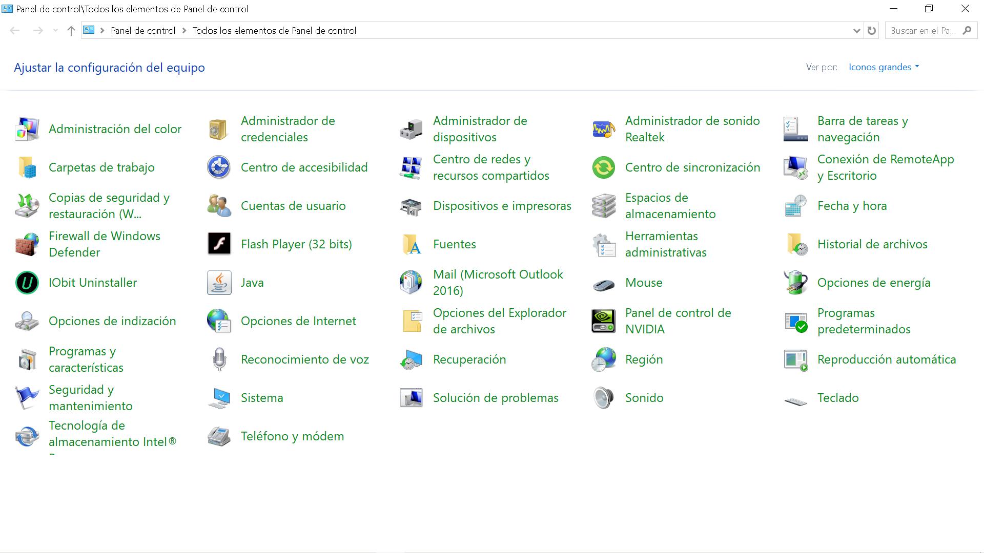 Panel de control de Windows 10