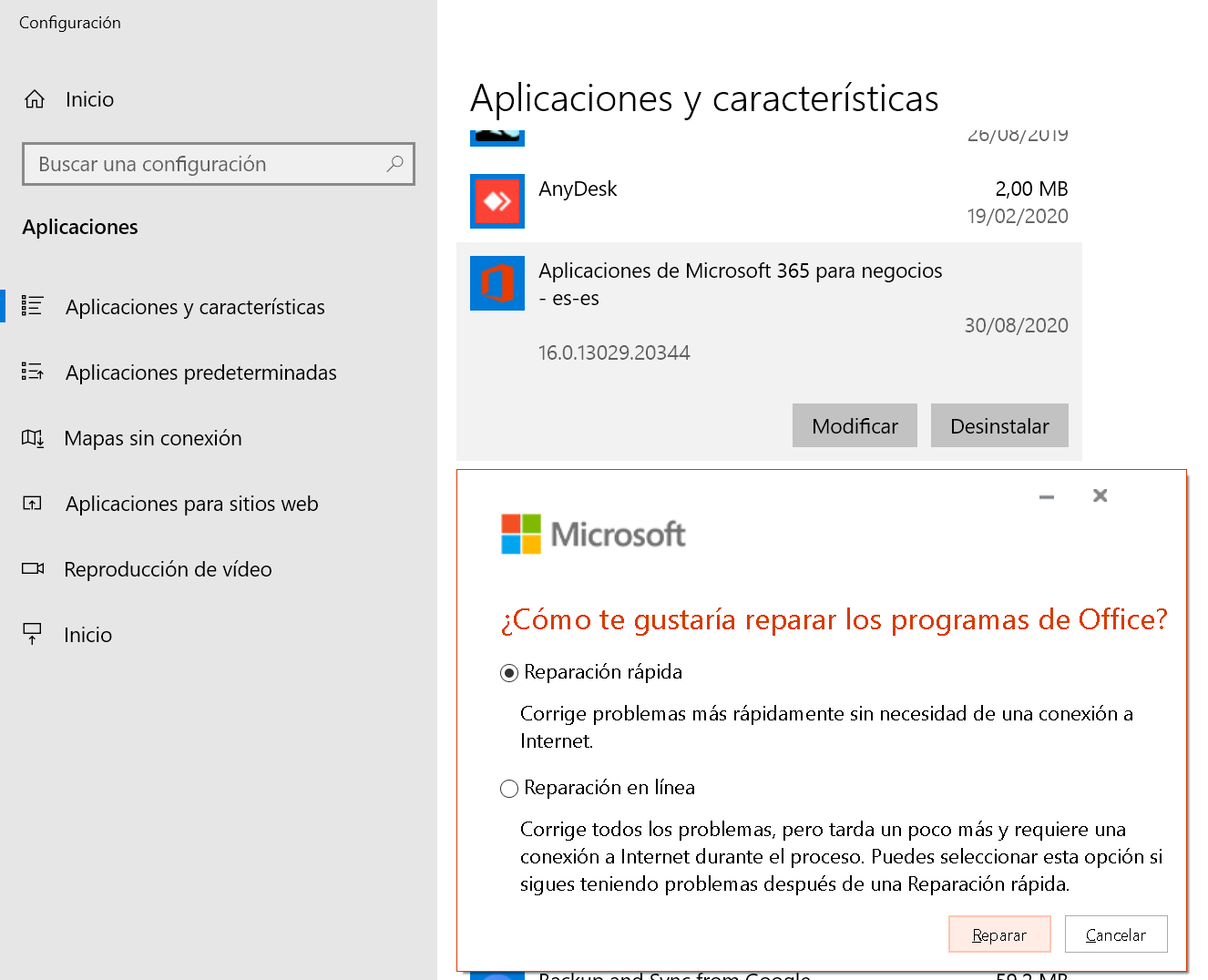 Reparar Ms Office 365