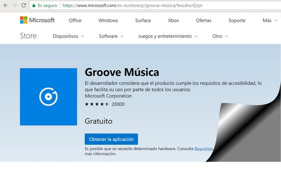 Ms Groove para música en Windows 10