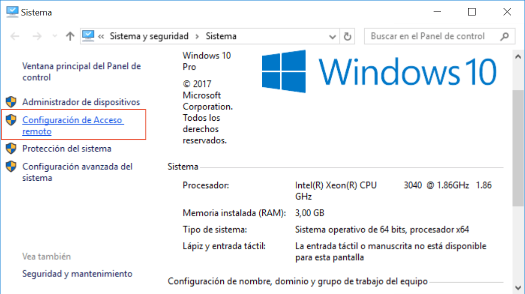 Configuración de acceso remoto en Windows