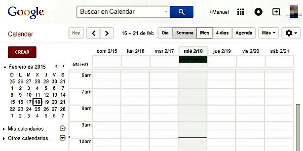 google calendar pantalla principal
