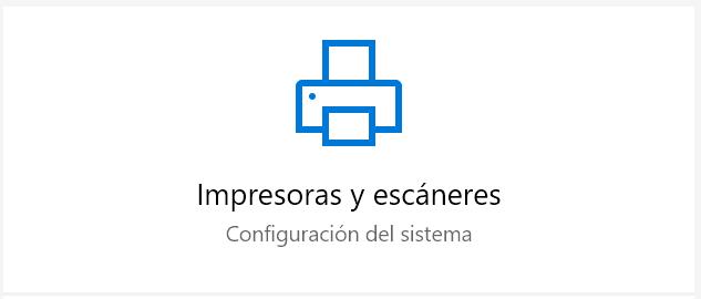 Impresoras y escáneres en Windows 10