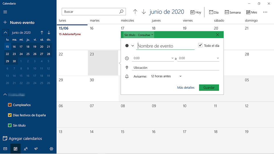 El Calendario de Windows 10