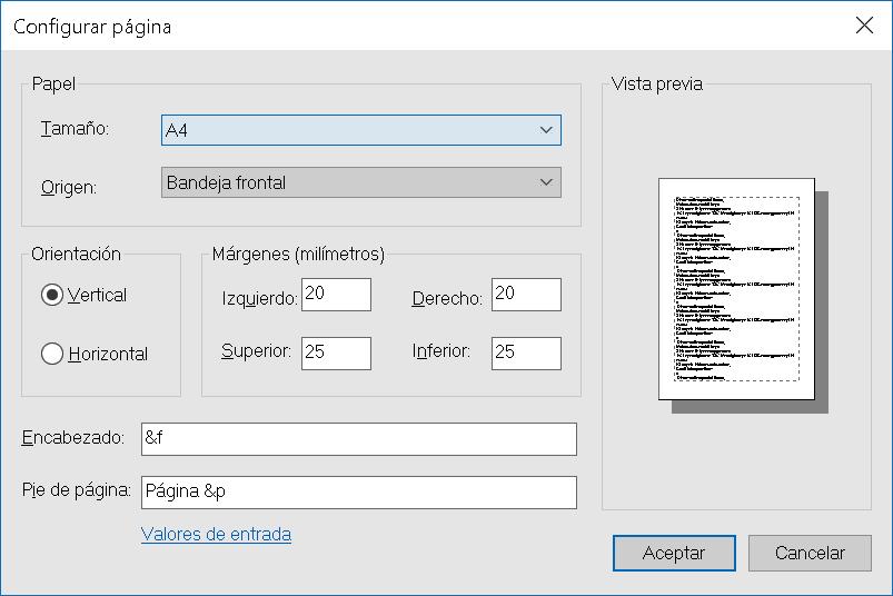 Configurar página en el Bloc de notas