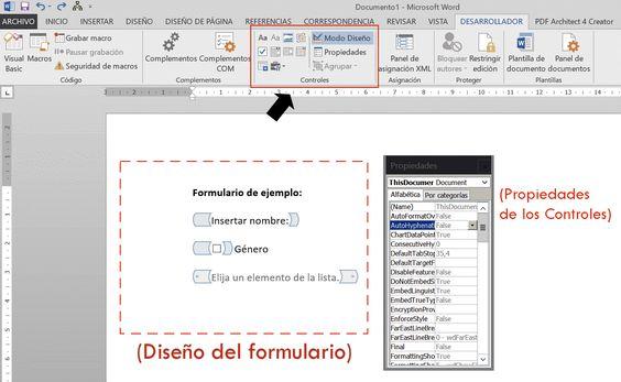 Diseñar formularios en Ms Word