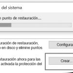 Crear un punto de restauración en Windows 10