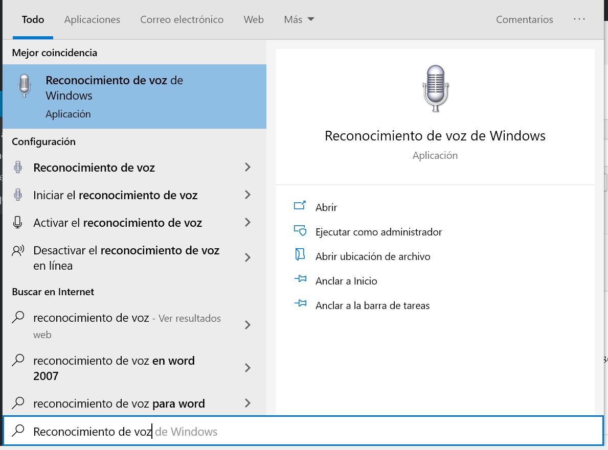 Reconocimiento de voz en Windows