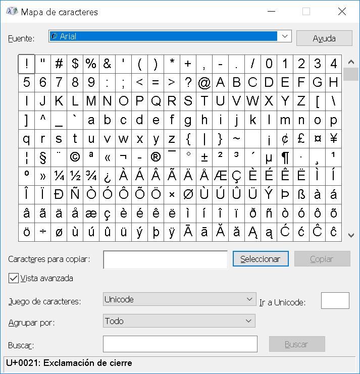 Mapa de caracteres para la fuente Arial