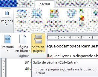 Insertar saltos de página en Word