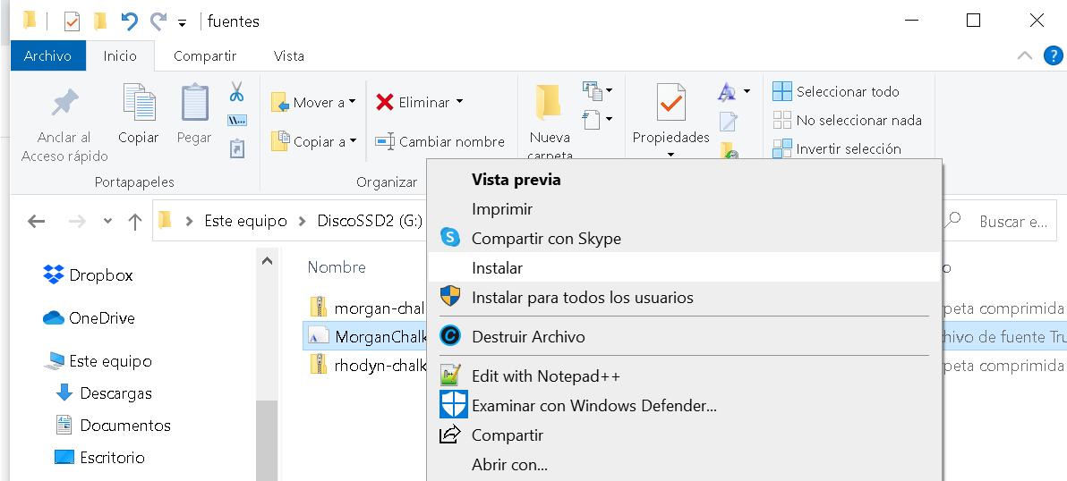 Instalar fuentes en Windows 10