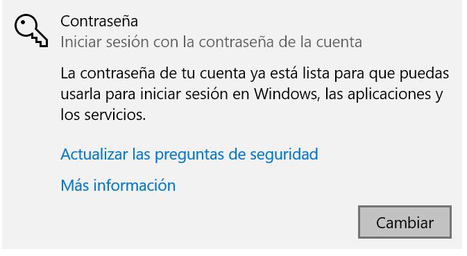 Cambiar contraseña en Windows 10