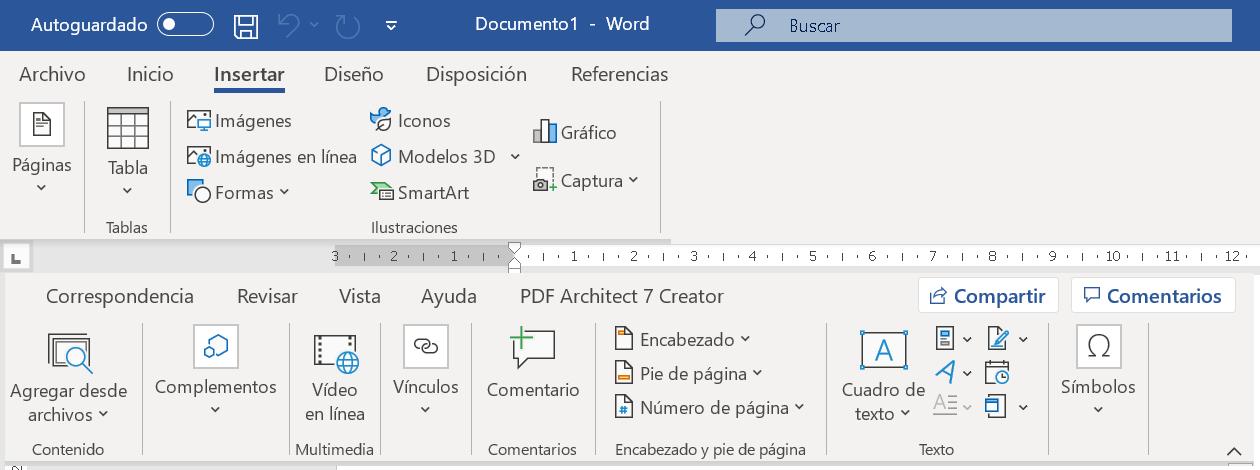 Insertar elementos en Word