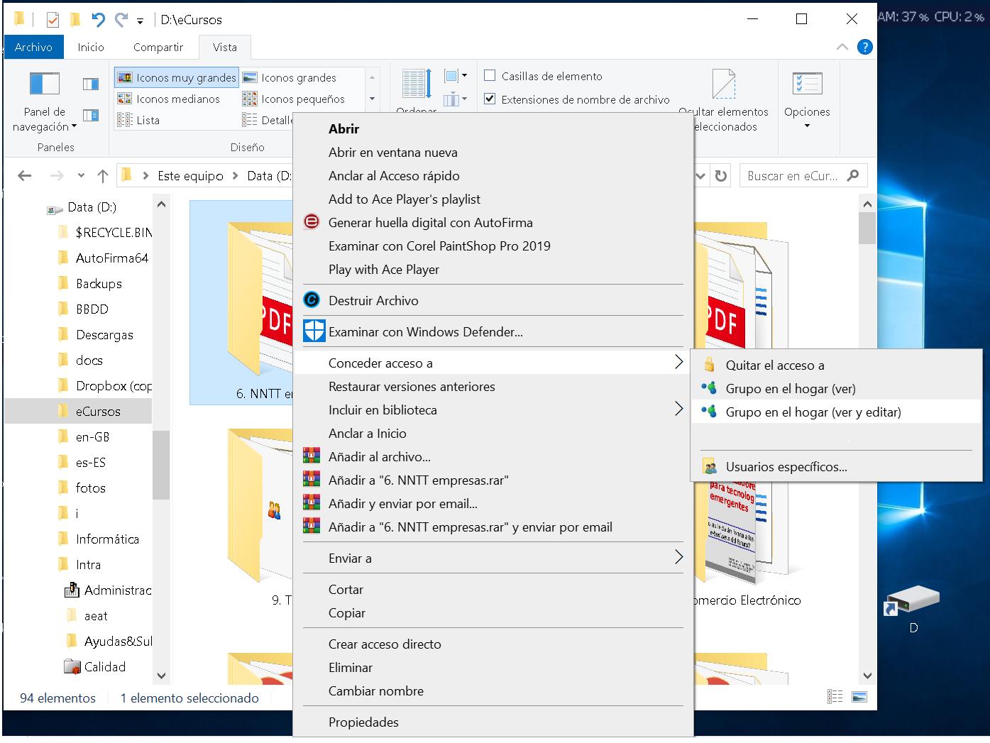 Compartir carpeta en Windows 10