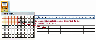 insertar tabla: seleccionar nº de filas y columnas