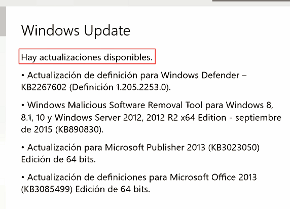 Actualizaciones Windows