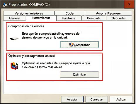 Herramientas optimización unidades de almacenamiento en Windows 10