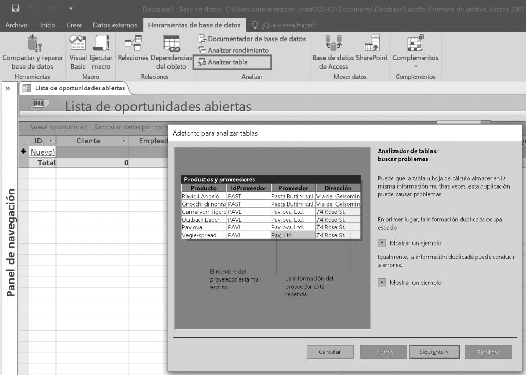 El analizador de tablas de Access