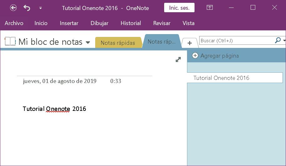 Interfaz de usuario Onenote 2016