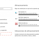 El gestor de espacio en disco de Windows 10