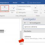 Investiga mientras escribes un documento en Word 2016