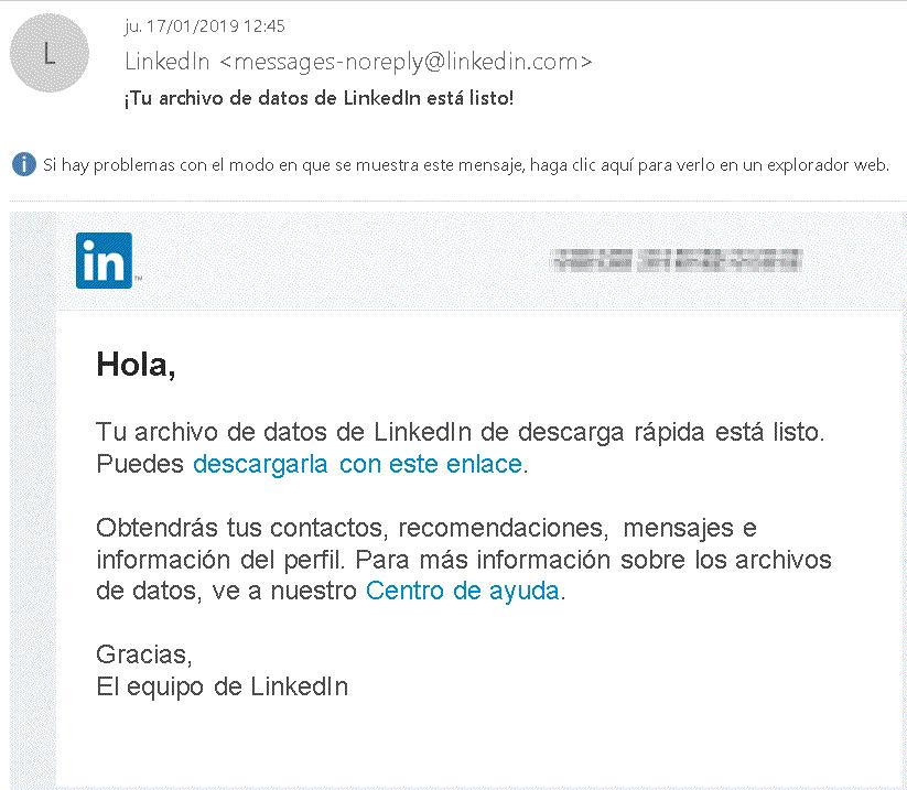 email descargas archivo con contactos de Linkedin