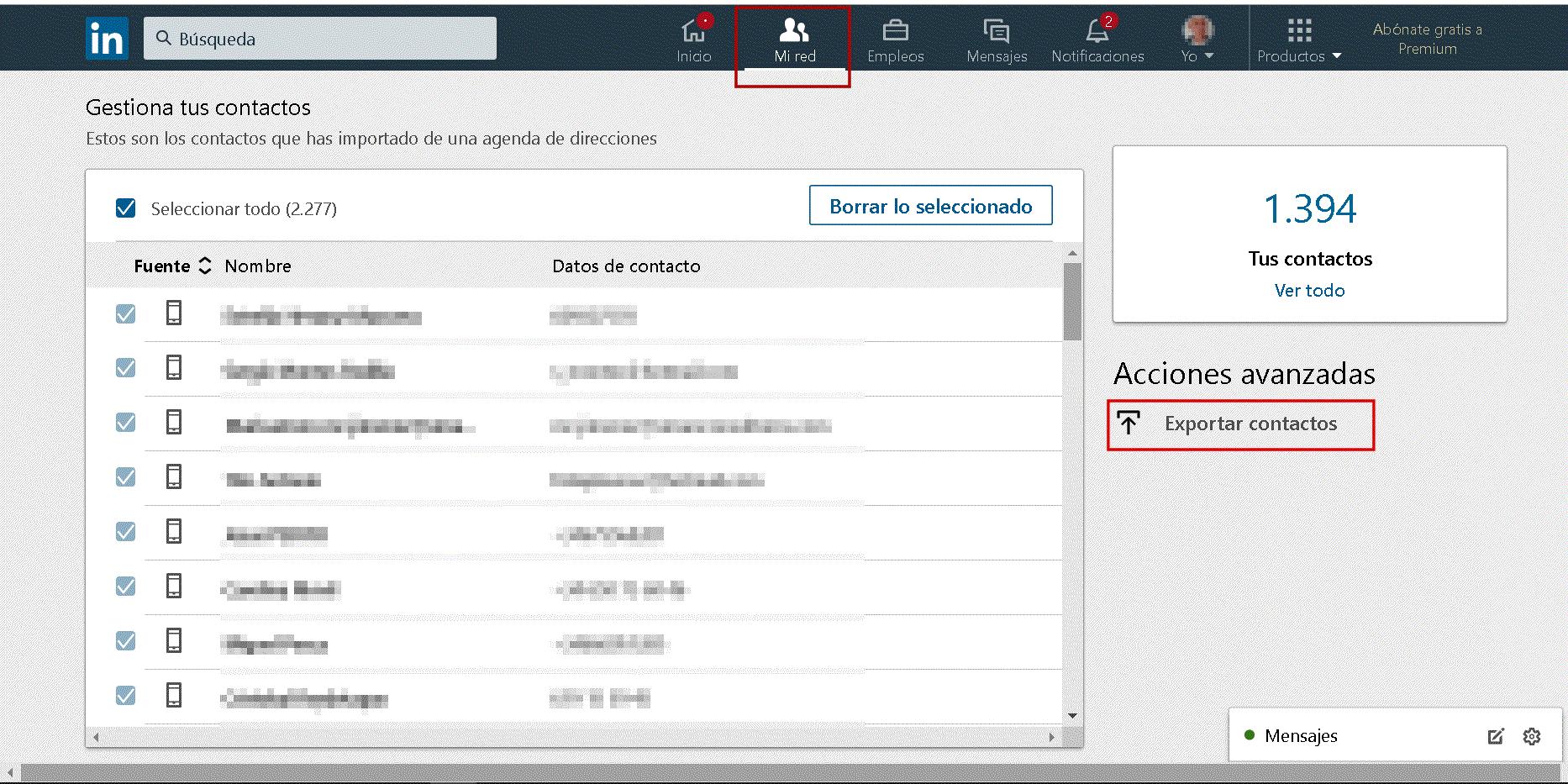 Exportar Importar contactos Linkedin