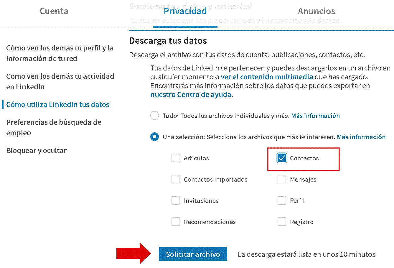 Importar / Exportar contactos