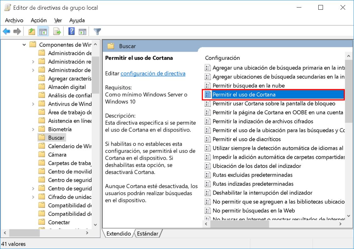 Deshabilitar Cortana