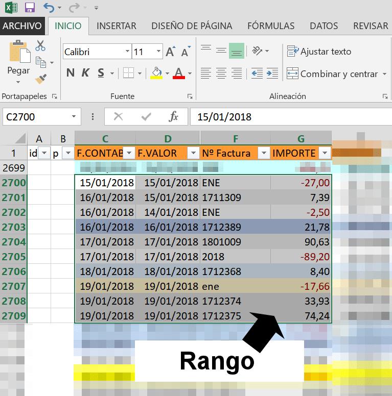 Rango de celdas en Excel