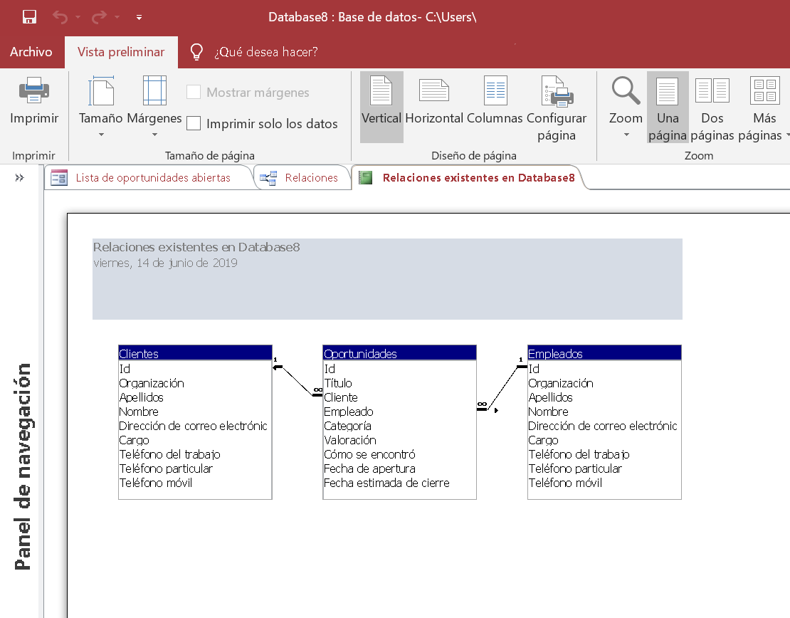 Informe de relaciones existentes en entre tablas