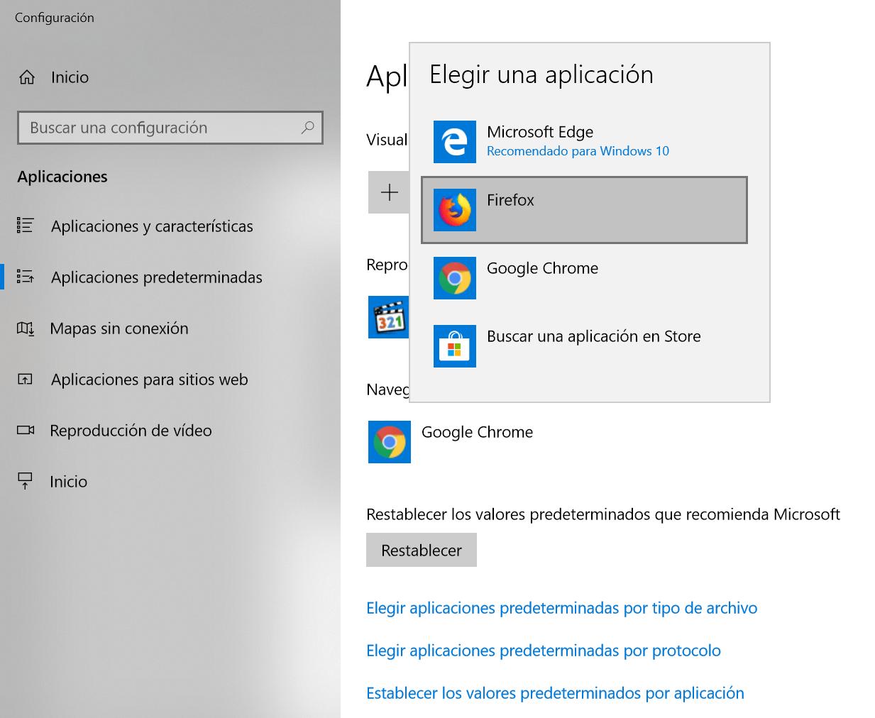 Elegir un navegador web predeterminado en Windows