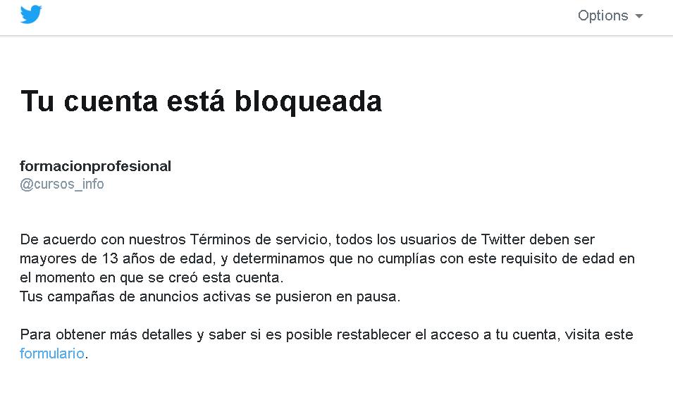 cuenta bloqueada en Twitter