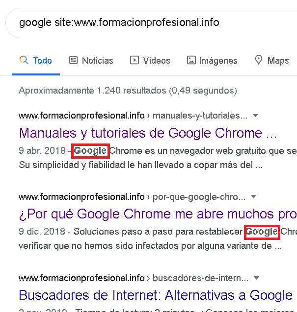 Ejemplo perador site: de Google