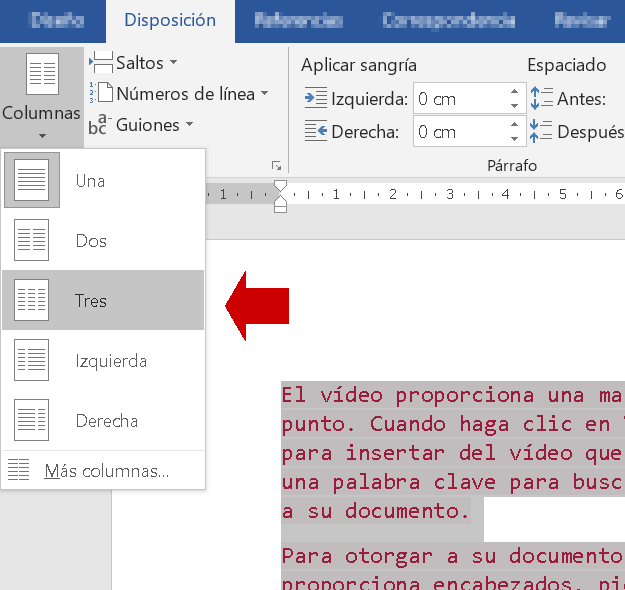 Insertar columnas en Word