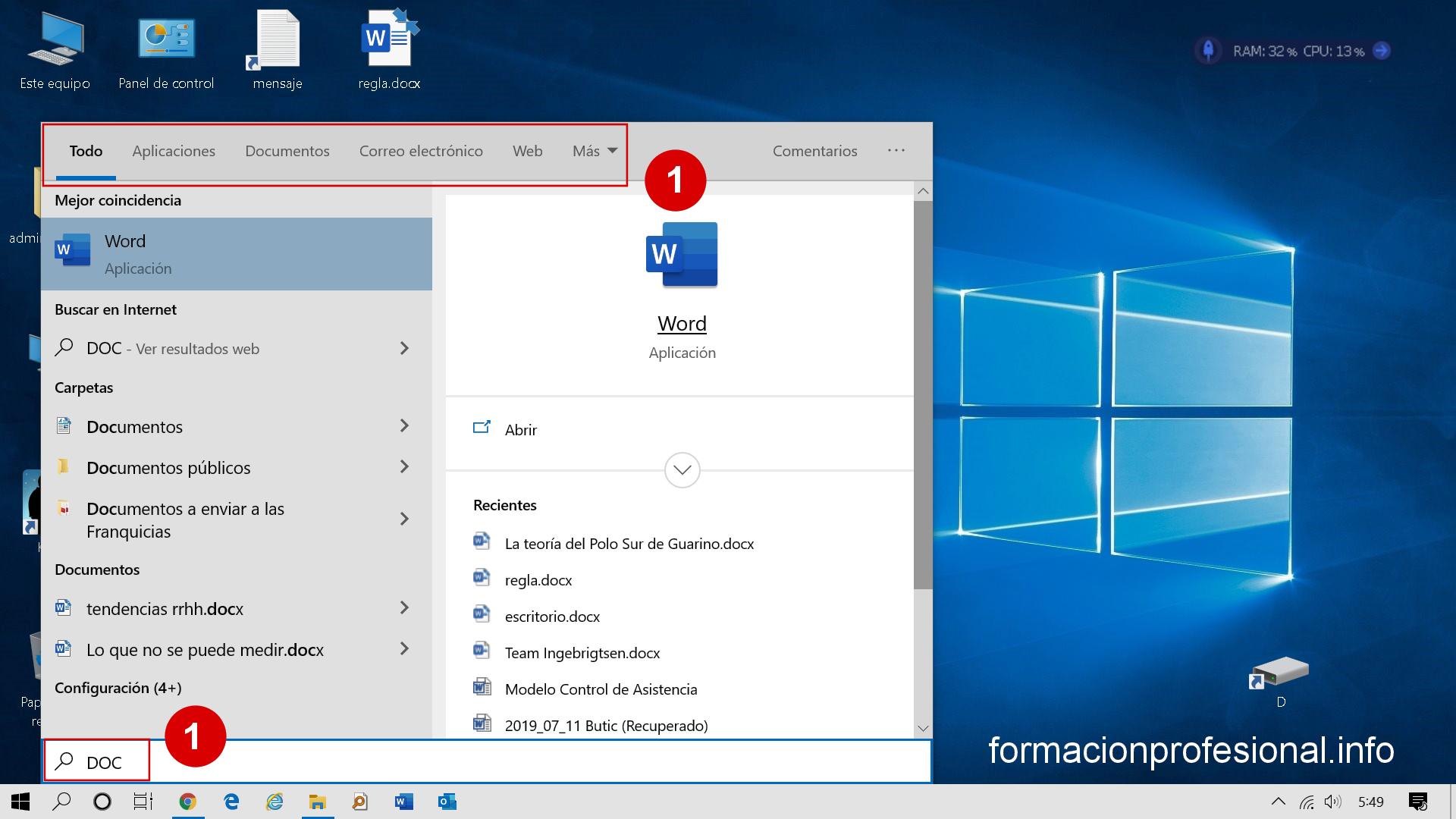 Menú Inicio / Búsquedas en Windows 10