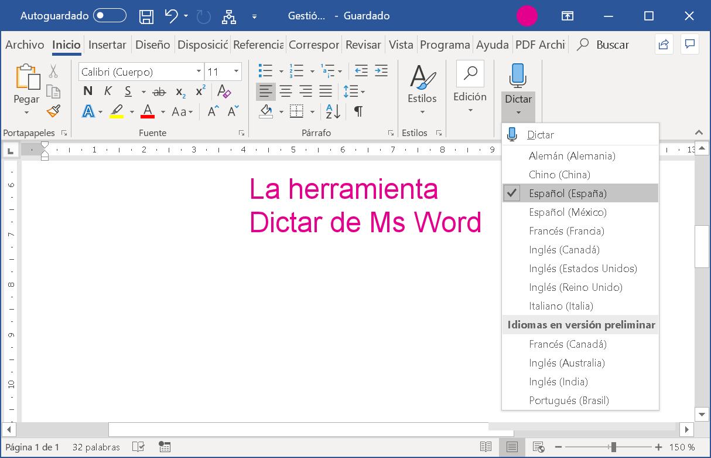 La herramienta Dictar de Ms Word