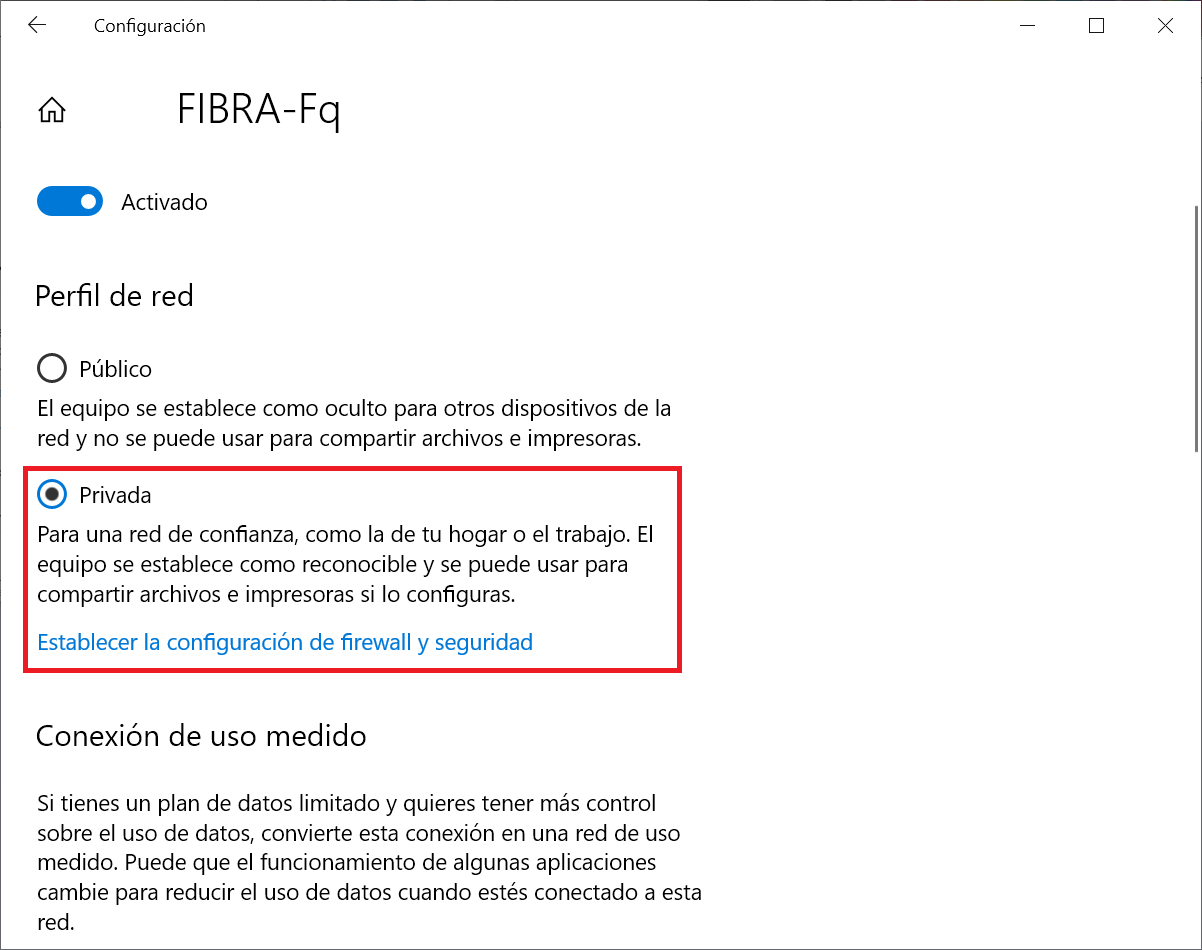 Perfil de red en Windows