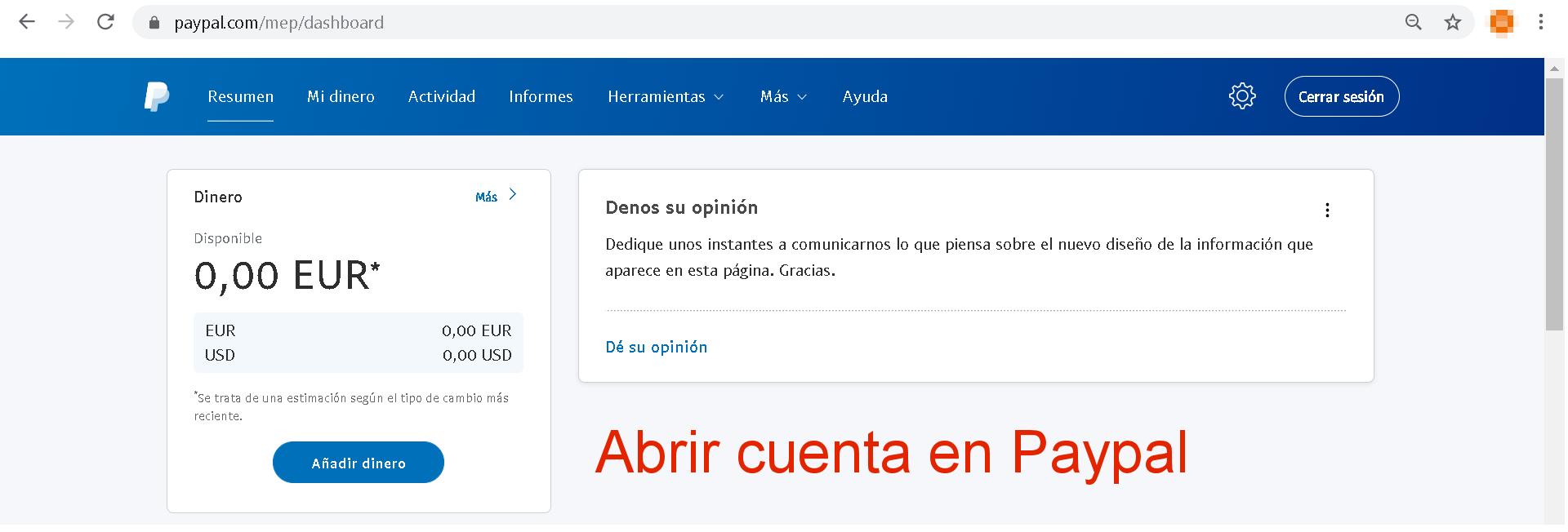 Abrir cuenta en Paypal