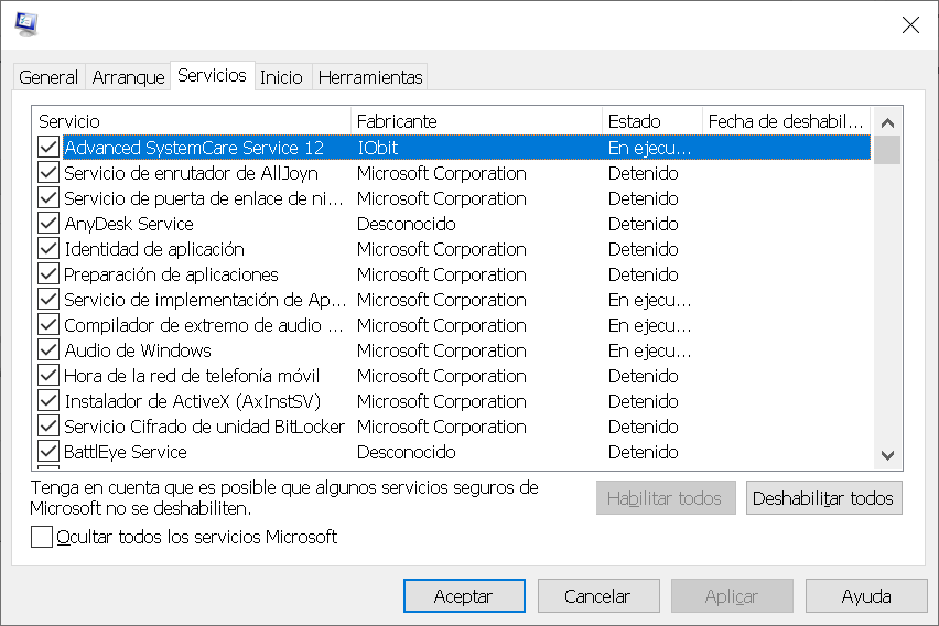 Servicios de Windows que se cargan al Iniciar