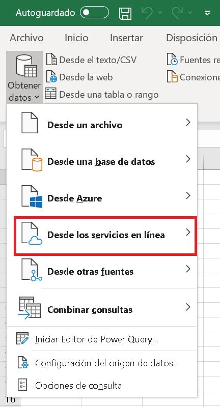 El conector web de Excel