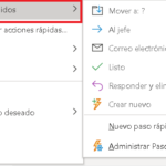 Pasos rápidos en Outlook