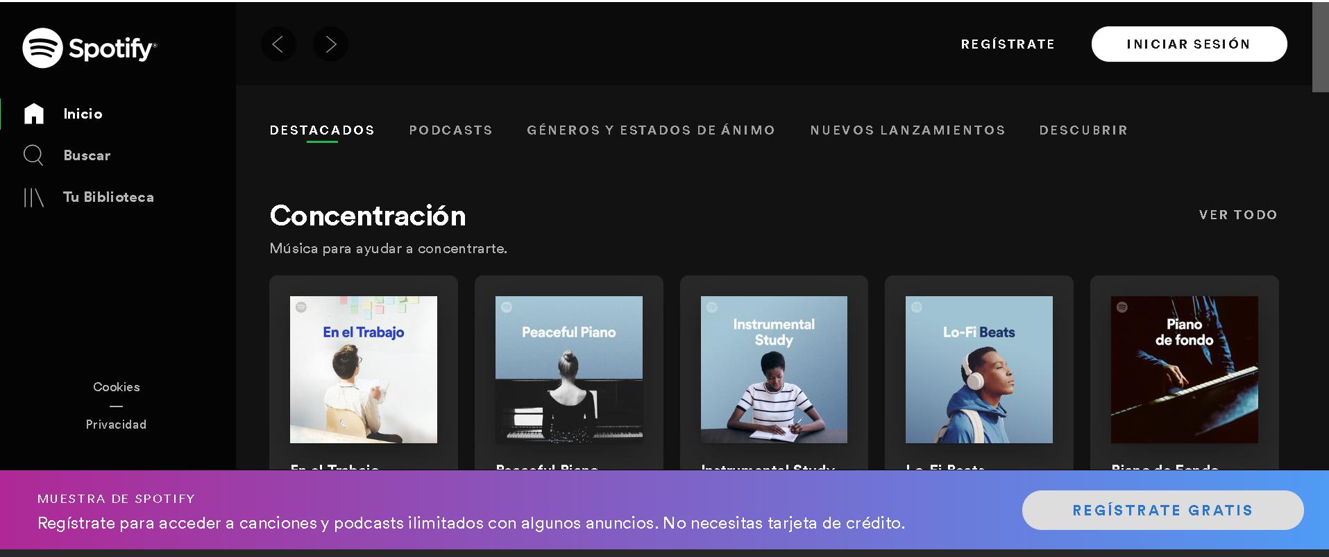 Escuchar música gratis con Spotify open